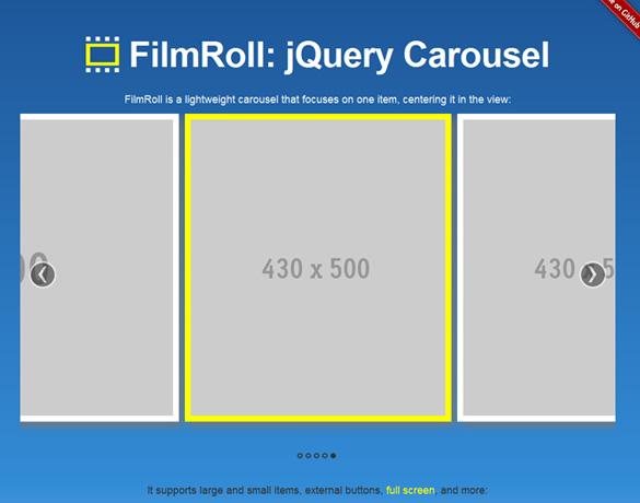 前後左右の画像を表示しつつスライドするカルーセルスライダー「jQuery FilmRoll」